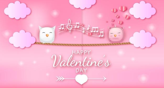 Felice giorno di san valentino saluto testo con cuori e coppia di gufo