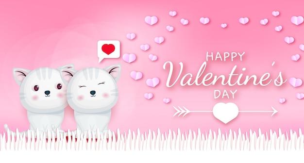 Felice giorno di san valentino saluto testo con coppia di gattini