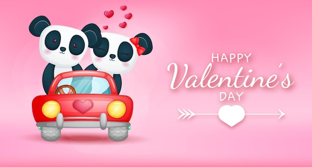 Felice giorno di san valentino saluto testo con coppia di panda