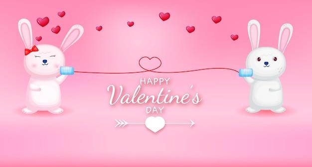 Felice giorno di san valentino saluto testo con coppia di coniglio