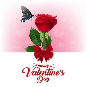 Buon san valentino. saluto con realistico di rosa rossa.