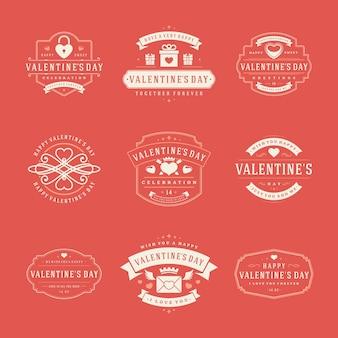 Felice giorno di san valentino saluti etichette impostate
