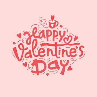 Iscrizione disegnata a mano di felice giorno di san valentino