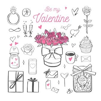 Felice giorno di san valentino scritte a mano lettering be my valentine oggetti isolati