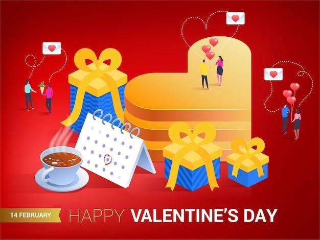 Buon san valentino. cuore in stile isometrico. l'amore è nell'aria. piccole persone che si scambiano messaggi.