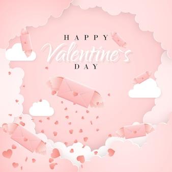 Modello di carta di invito felice giorno di san valentino con lettera di carta origami, nuvole e coriandoli. sfondo rosa.