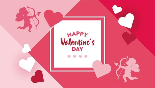 Happy valentines day lettering card con angeli e cuori