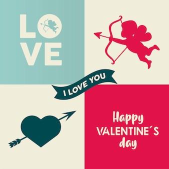 Happy valentines day lettering card con cupido angelo e cuore