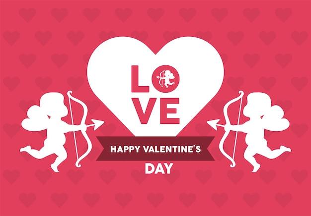 Happy valentines day lettering card con cuore e angeli cupido