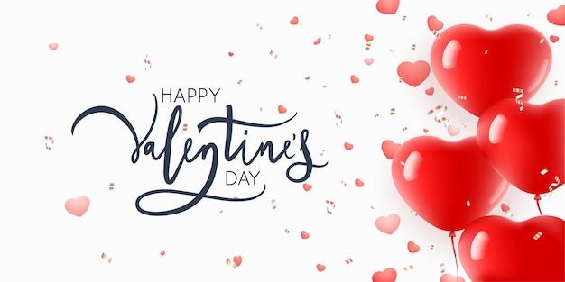 Felice giorno di san valentino scritte con palloncini a forma di cuore sopra bianco