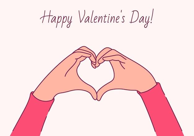 Buon san valentino, concetto di amore. mani femminili sotto forma di cuore