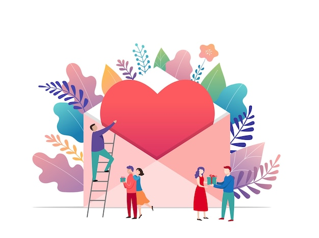Buon san valentino, concetto di lettera d'amore. grande busta con cuore rosso e piccole persone, sfondo romantico, modello di banner