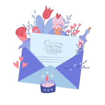 Buon san valentino, concetto di lettera d'amore.