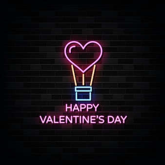 Insegne al neon felici di san valentino.