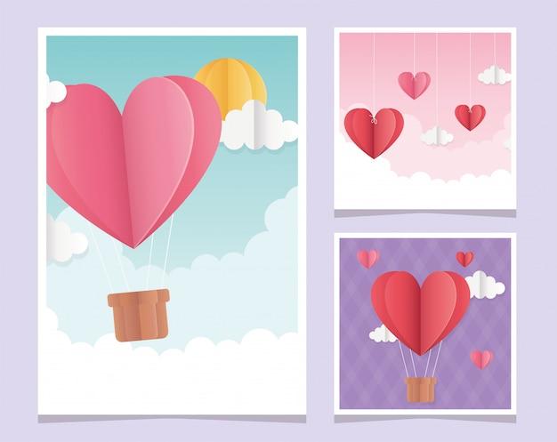 Felice giorno di san valentino origami biglietti di auguri cuori nuvole palloncino