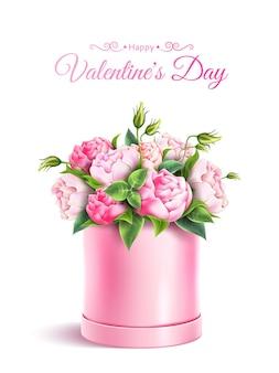 Felice poster di san valentino con elegante scatola di fiori di peonia rosa