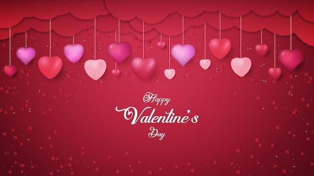 Felice giorno di san valentino cuori rossi forma con le nuvole