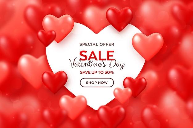 Banner di vendita felice giorno di san valentino. brillanti cuori 3d di palloncini rossi e rosa con banner di carta a forma di cuore.