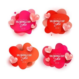 Insieme felice della raccolta di vendita di giorno di biglietti di s. valentino. elementi di palloncino a forma di cuore di aria volante con forma d'onda