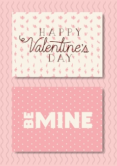 Happy valentines day set cards