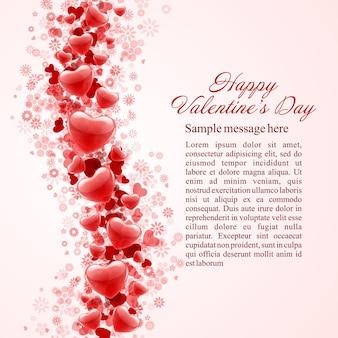 Fondo brillante dei cuori di giorno di biglietti di s. valentino felice