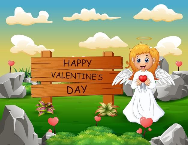 Segno felice di giorno di biglietti di s. valentino con la ragazza di angelo alla natura