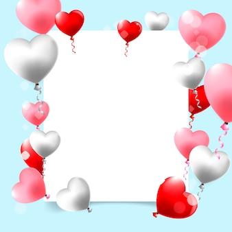 Progettazione felice del modello di san valentino con cuore rosso sul blu
