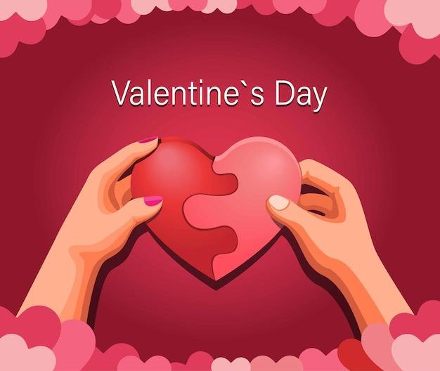 Modello felice di giorno di biglietti di s. valentino, cuore della tenuta di due mani, concetto di simbolo delle coppie di amore nell'illustrazione del fumetto