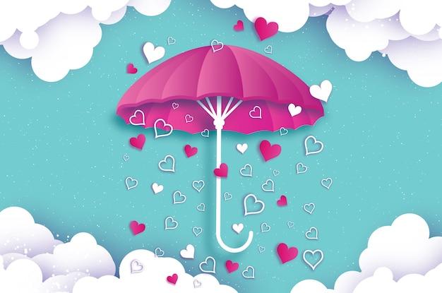 Buon san valentino ombrello bianco aria con amore che piove origami cuore stagione di gocce di pioggia cuore in stile taglio carta su sfondo blu vacanze romantiche amore febbraio