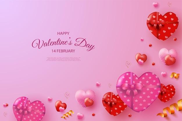 Buon san valentino con palloncini a forma di cuore e decorazione con nastro dorato