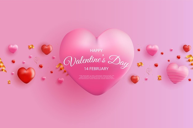 Buon san valentino con palloncini realistici a cuore dolce