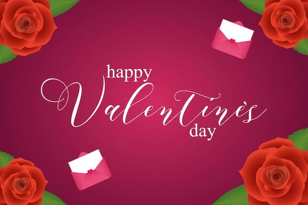 Buon san valentino con rose e carte di amore passione e tema romantico illustrazione vettoriale