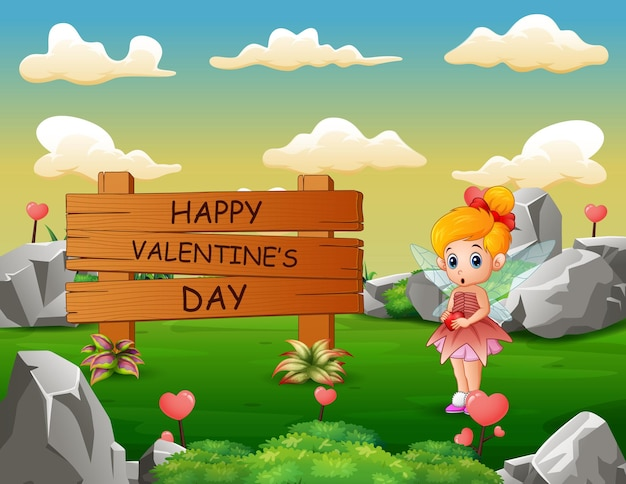 Felice giorno di san valentino cartello in legno con angioletto in natura