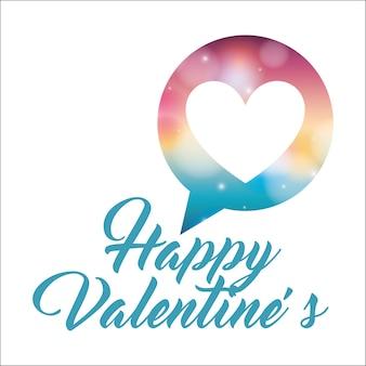 Amore felice del cuore dell'iscrizione della scrittura a valentines dei biglietti di s. valentino nel fumetto