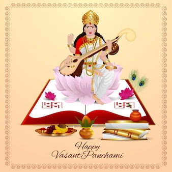 Felice vasant panchami con illustrazione creativa per la dea saraswati