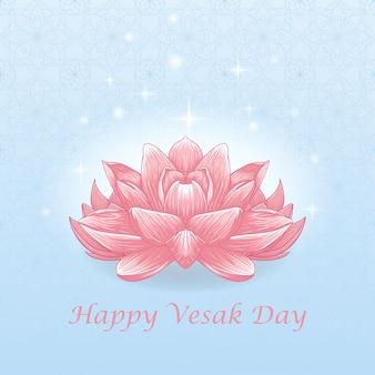 Concetto felice giorno vesak con illustrazione di tiraggio della mano del fiore