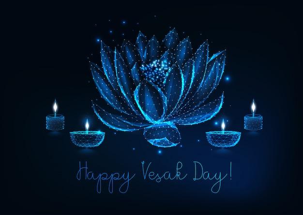 Cartolina d'auguri di giorno felice vesak con fiore di loto