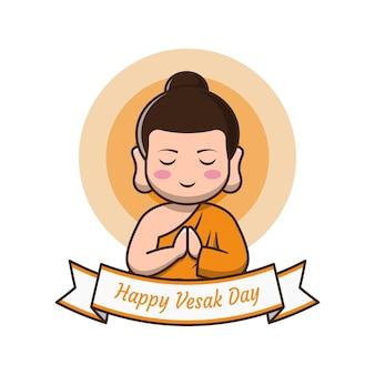 Felice giorno di vesak con illustrazione di cartone animato carino buddha