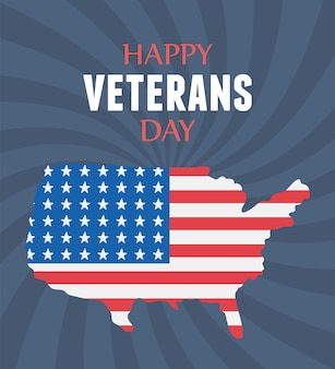 Felice giorno dei veterani, bandiera americana nella mappa, soldato delle forze armate militari statunitensi.