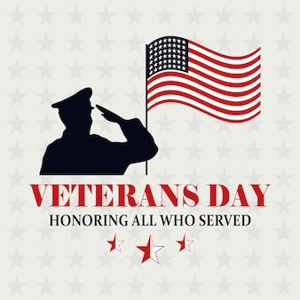 Felice giorno dei veterani, bandiera americana in pole e soldato che saluta l'illustrazione commemorativa di vettore