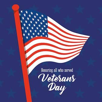 Felice giorno dei veterani, bandiera americana in pole stelle sfondo blu illustrazione