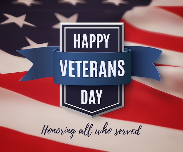 Modello di sfondo happy veterans day. distintivo con nastro blu in cima alla bandiera americana. illustrazione.