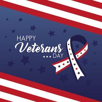 Happy veterans day card con la campagna del nastro e l'illustrazione della bandiera degli stati uniti
