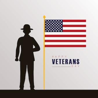 Happy veterans day card con silhouette nera soldato e bandiera nell'illustrazione del palo