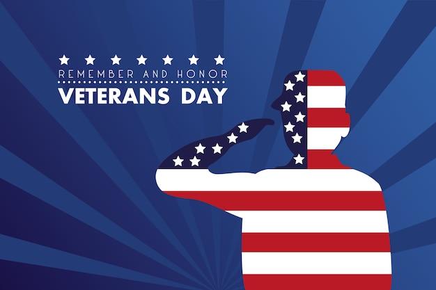 Scheda felice di giorno dei veterani con il soldato che saluta l'illustrazione della bandiera degli stati uniti