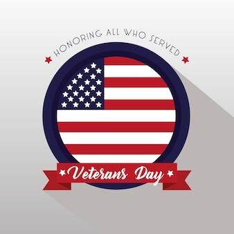 Happy veterans day card con bandiera usa nell'illustrazione cornice circolare