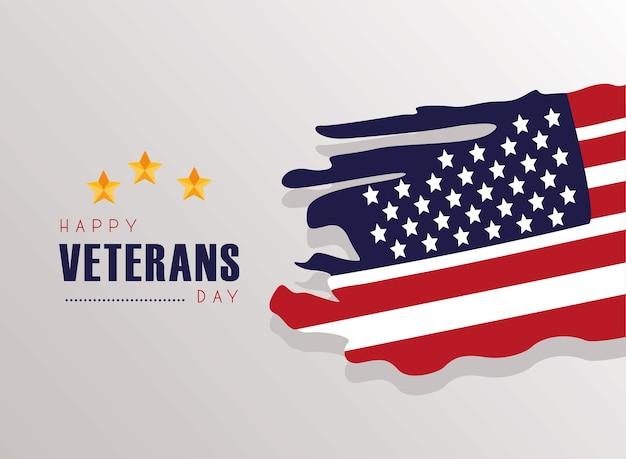 Happy veterans day card con bandiera usa dipinta in uno sfondo grigio illustrazione