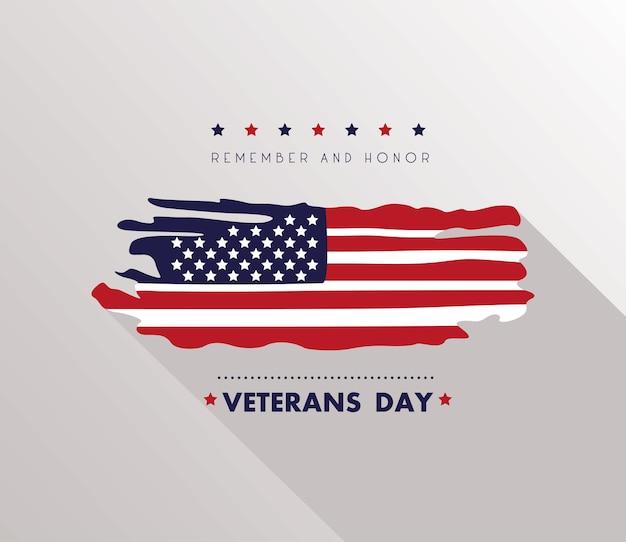 Happy veterans day card con bandiera usa illustrazione dipinta