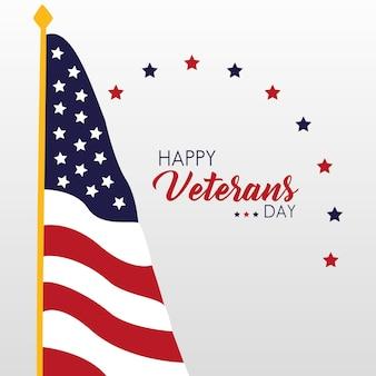 Happy veterans day card con bandiera usa in pole illustrazione
