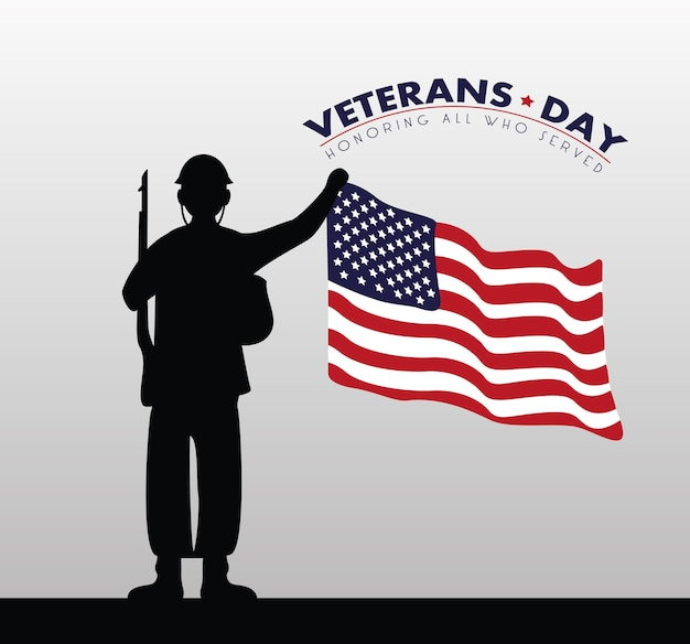 Happy veterans day card con bandiera usa e illustrazione silhouette soldato
